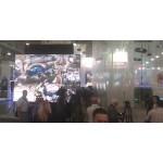 Прозрачная проекционная пленка обратной проекции и Видеостена Самсунг для стенда Правительства Московской области и  проекционная тюль