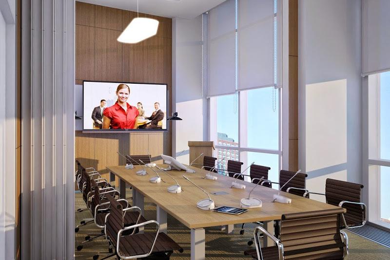 Переговорные комнаты часто оснащаются и системами групповой видеоконференц связи - для эффективности переговоров без выезда в командировки.